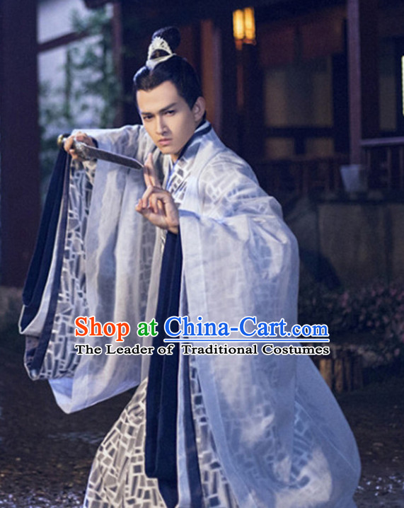 Chinese Ancient Prime Minster Men's Clothing & Apparel Chinese Traditional Dress Theater and Reenactment Costumes and Headwear Complete Set