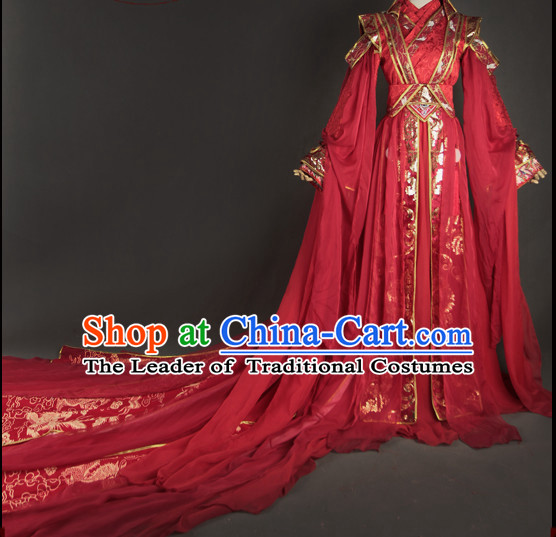 Chinese Women Traditional Royal Empress Wedding Dress Cheongsam Ancient Chinese Imperial Clothing Cultural Bridal Robes Complete Set
