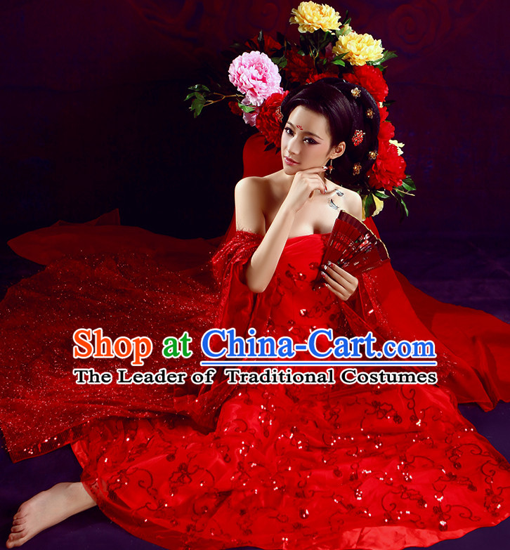 Chinese TV Drama Brides Costume Ancient Theatrical Costumes Historical Clothing and Hair Jewelry Complete Set for Women
