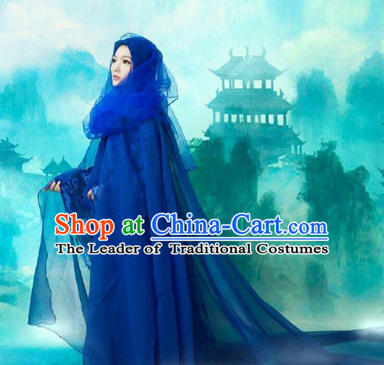 Blue Ancient Chinese Fairy Costumes Complete Set for Women