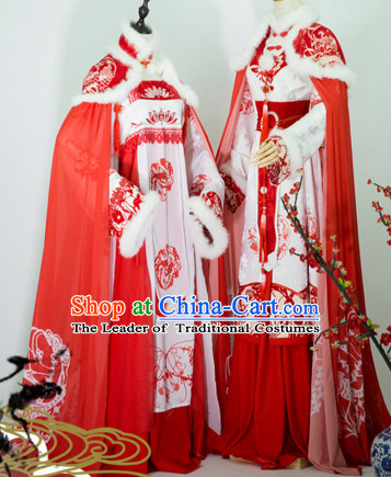 Top Chinese Ancient Bridal Guzhuang Hanfu Women's Clothing _ Apparel Chinese Traditional Dress Theater and Reenactment Costumes Complete Set