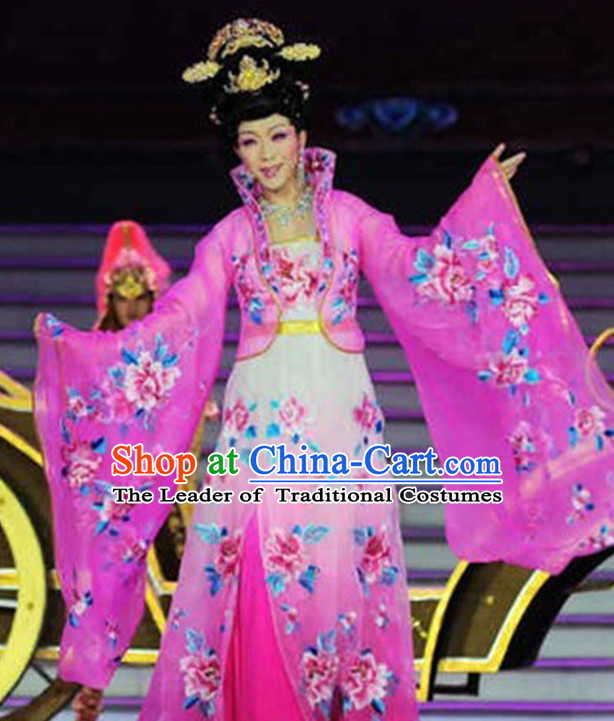 Chinese Ancient Women's Clothing & Apparel Chinese Traditional Dress Theater and Reenactment Costumes and Hat Complete Set