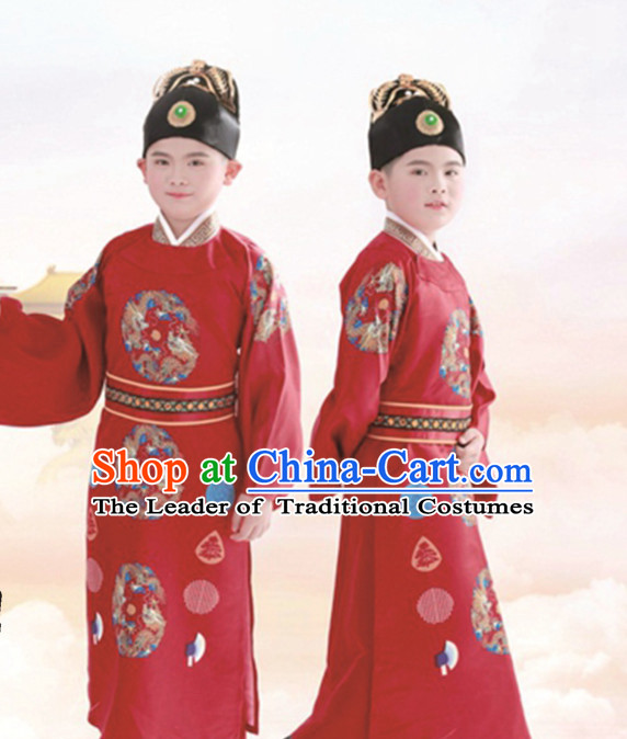Ancient Chinese Prince Dress Emperor Costumes Embroidered Dragon Robe and Hat Crown Complete Set for Men