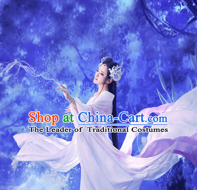 Ancient Chinese Fairy Hanfu Dress Hanbok Kimono Cosplay Costume Traditional Dresses and Headpieces Complete Set