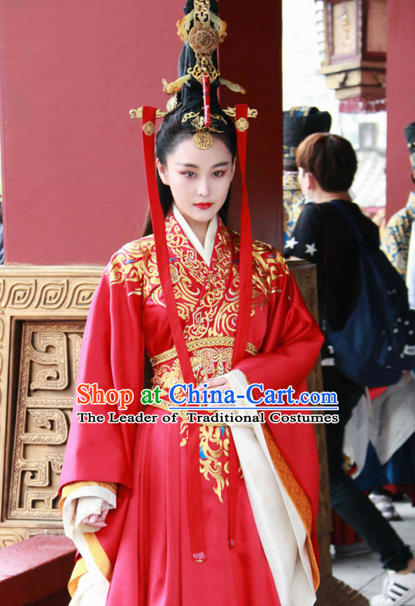 Top Chinese Ancient Empress Women's Clothing & Apparel Chinese Traditional Dress Theater and Reenactment Costumes and Headwear Complete Set