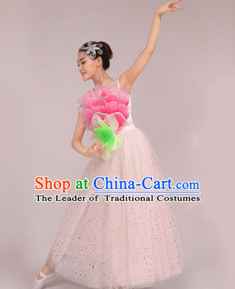 Chinese Peony Dance Costume Dance Costumes Fan dance Umbrella Ribbon Fans Water Sleeve Dancer Dancing Costumes Complete Set