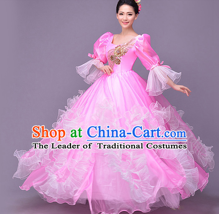 Pink Chinese Flower Dance Costume Dance Costumes Fan dance Umbrella Ribbon Fans Water Sleeve Dancer Dancing Costumes Complete Set