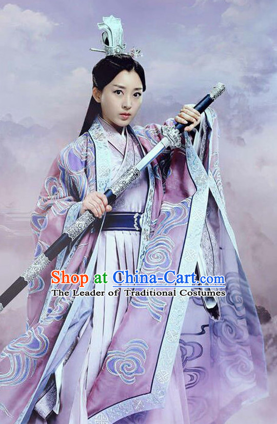 Top Chinese Ancient Empress Women's Clothing _ Apparel Chinese Traditional Dress Theater and Reenactment Costumes and Headwear Complete Set