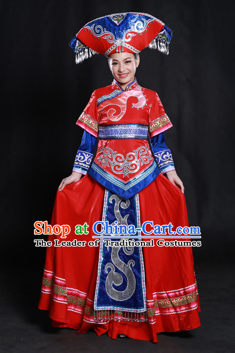 Happy Festival Chinese Minority Dress Zhuang Uniform Traditional Stage Ethnic National Costume Sale Complete Set
