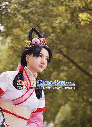 Chinese Ancient Lady Cosplay Handmade Wig and Hair Accessories Set