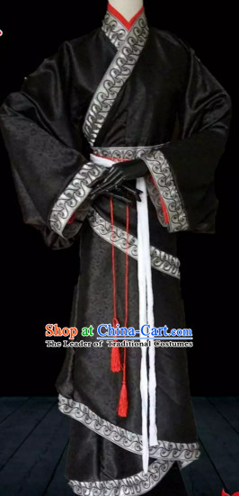 Black Ancient China Prime Minster Costumes High Quality Chinese National Costumes Complete Set for Men