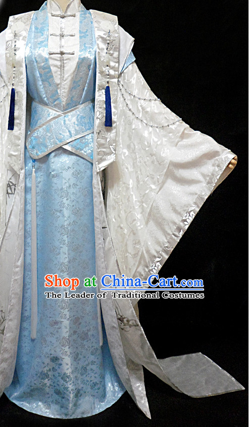 Blue Ancient China Style Poet Hanfu Costumes High Quality Chinese National Costumes Complete Set for Men