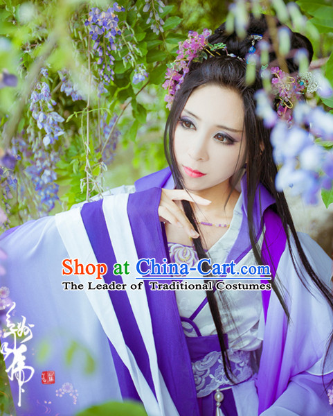 Ancient Chinese Princess Hanzhuang Han Fu Han Clothing Traditional Chinese Dress Hanfu National Costume and Hair Jewelry Complete Set for Women or Girls