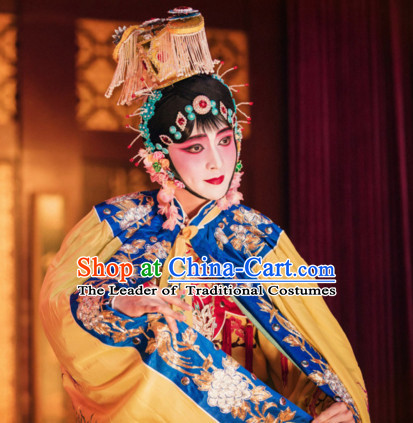 Ancient Chinese Opera Dress National Costumes and Headpieces Complete Set for Women