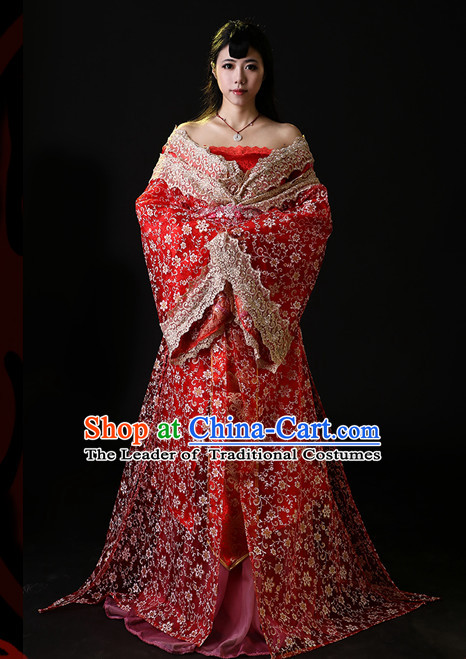 Ancient Chinese Bridal Hanfu National Costumes and Headpieces Complete Set for Women