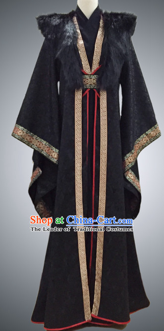 Black Ancient Chinese Prince Clothing Han Fu National Costumes Complete Set for Men