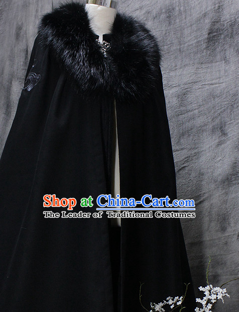 Black Chinese Classical Emperor Imperial Robe Cosplay Clothes Hanfu Han Fu Mantle Cape for Men