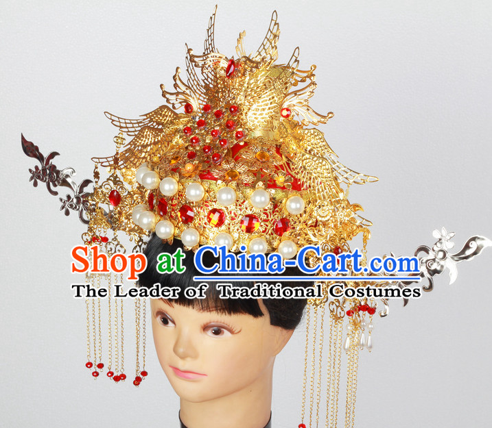 7db50b08c34 Supreme Handmade Chinese Ancient Imperial Palace Empress Wedding Phoenix Hat
