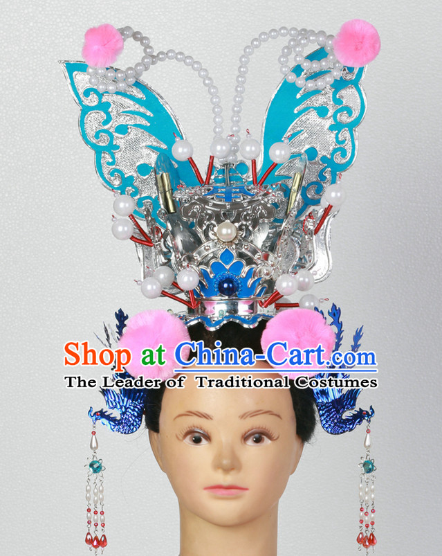Supreme Handmade Chinese Ancient Opera Princess Butterfly Headwear Headgear Hair Jewelry Hairpieces Set