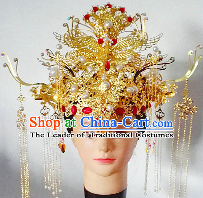 Handmade Chinese Empress Queen Imperial Wedding Bridal Phoenix Hat for Brides