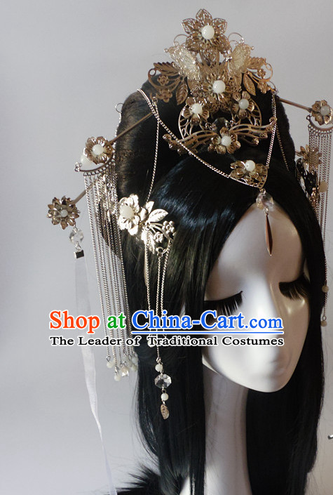 Chinese Classic Black Long Wigs and Headwear Crowns Hats Headpiece Hair Accessories Jewelry Set