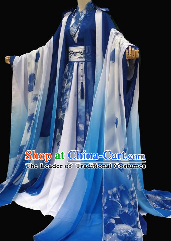 Blue Chinese Classical Fairy Costumes Complete Set