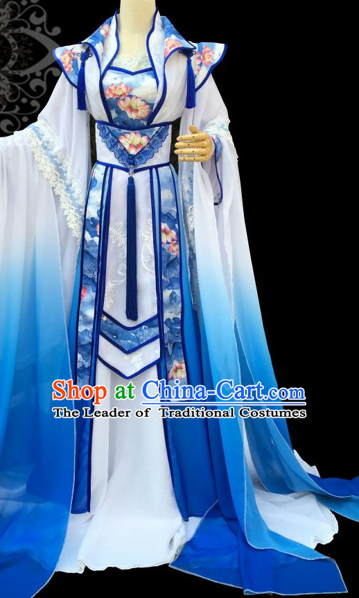 Blue Lotus Chinese Traditional High Collar Empress Clothing Complete Set