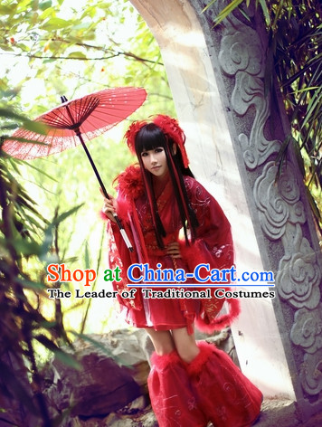 Top Red Chinese Princess Cos Hanfu Costumes Theater and Reenactment Costumes and Headgear Complete Set for Women