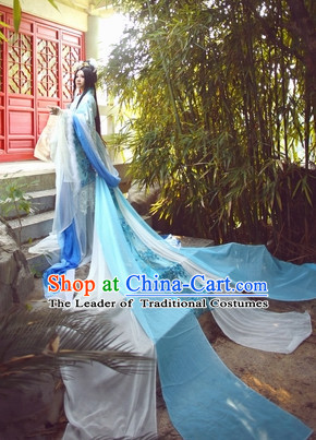 Top Blue Chinese Fairy Princess Hanfu Costumes Theater and Reenactment Costumes and Headgear Complete Set for Women