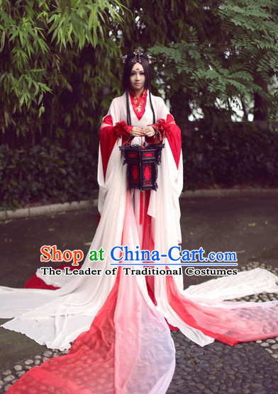 Top Red Chinese Fairy Princess Hanfu Costumes Theater and Reenactment Costumes and Headgear Complete Set for Women