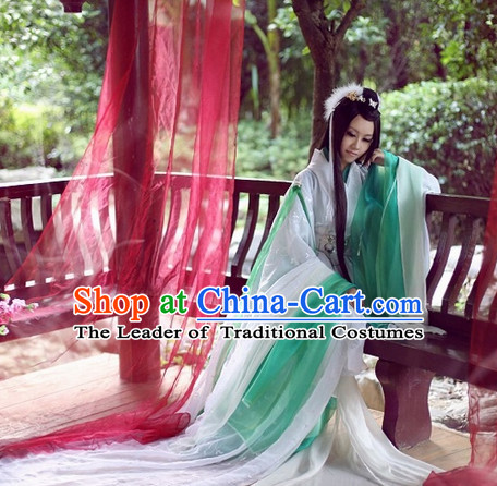 Top White Green Chinese Fairy Princess Hanfu Costumes Theater and Reenactment Costumes and Headgear Complete Set for Women