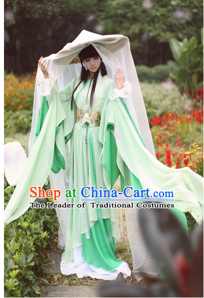 Top Grass Green Chinese Fairy Princess Hanfu Costumes Theater and Reenactment Costumes and Headgear Complete Set for Women