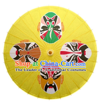 Asian Dance Umbrella Chinese Handmade Beijing Opera Mask Umbrellas Stage Performance Umbrella Dance Props