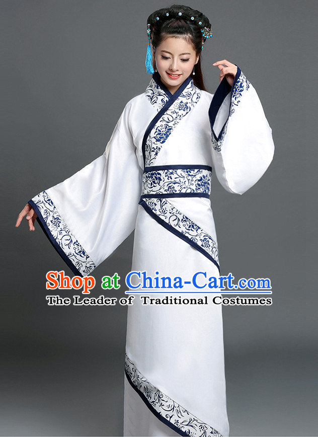 Chinese Han Dynasty Women Hanfu Clothing and Hair Ornaments Complete Set