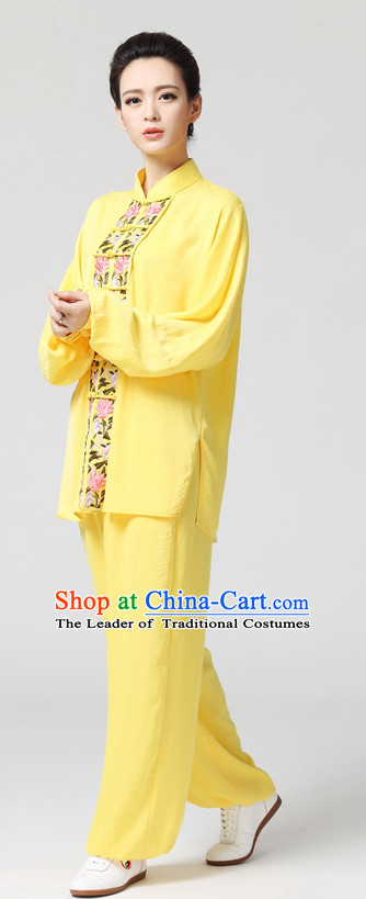 Yellow Chinese Kung Fu Tai Chi Wushu Shaolin Uniform Wudang Uniforms Wu Shu Nanquan Kungfu Changquan Costume Uniform Martial Arts Tai Chi Taiji Uniforms