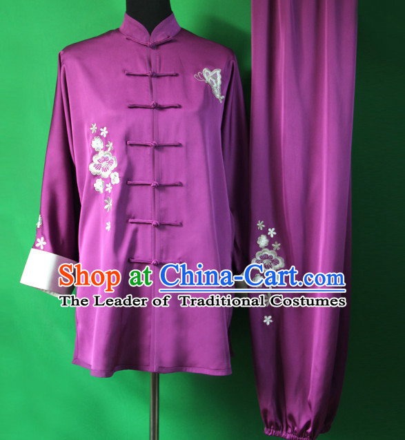 Purple Chinese Kung Fu Tai Chi Wushu Shaolin Uniform Wudang Uniforms Wu Shu Nanquan Kungfu Changquan Costume Uniform Martial Arts Tai Chi Taiji Uniforms