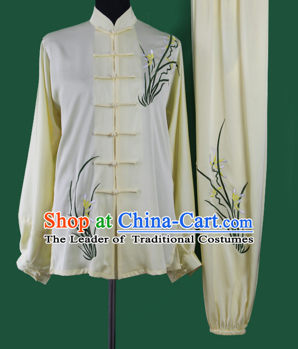Light Yellow Chinese Kung Fu Tai Chi Wushu Shaolin Uniform Wudang Uniforms Wu Shu Nanquan Kungfu Changquan Costume Uniform Martial Arts Tai Chi Taiji Uniforms