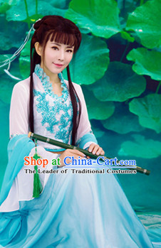 Traditional Chinese Women Beauty Clothing Dresses National Costume and Hair Ornaments Complete Set