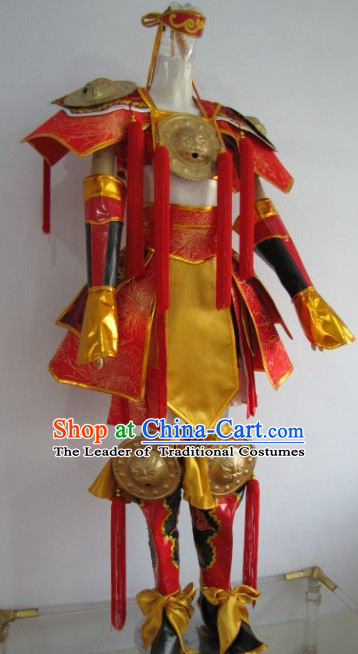 Chinese Swordsman Cosplay Costumes Knight Clothing Warrior Costume and Hair Ornaments Complete Set