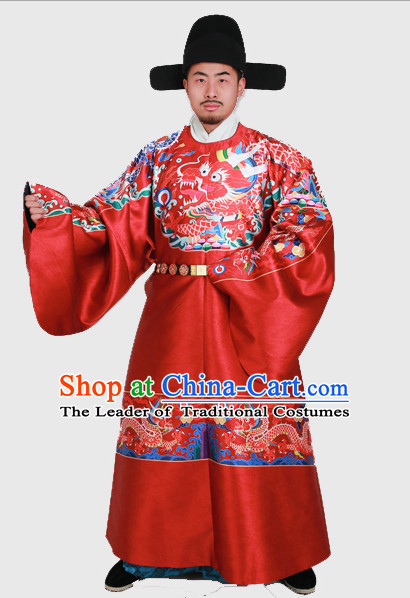 Ming Dynasty Clothes Men Chinese Emperor Ming Dynasty Han Fu Costumes Men Clothing Male Costume and Hat Complete Set