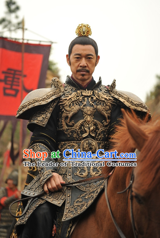 Chinese Ancient Tang Dynasty Emperor Body Armor Costumes Garment Complete Set for Men