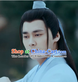 Chinese Ancient Hero Long Black Wigs