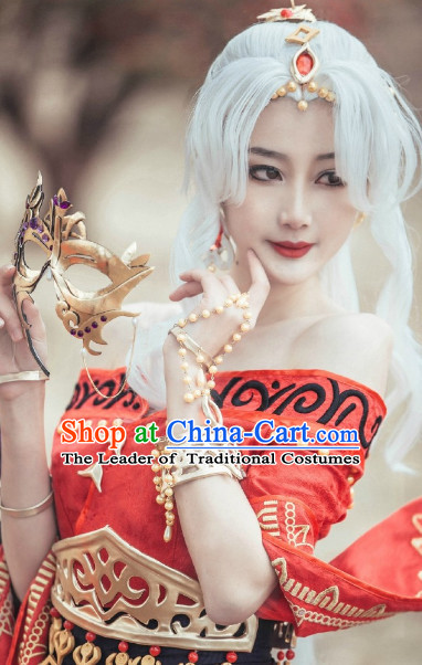 Chinese Ancient White Long Wigs