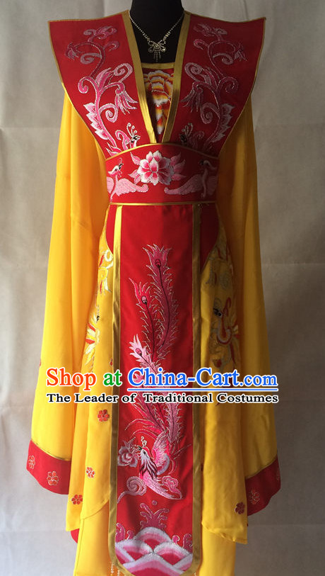 Red Long Sleeves China Beijing Opera Women Princess Phoenix Costume Embroidered Robe Stage Costumes Complete Set