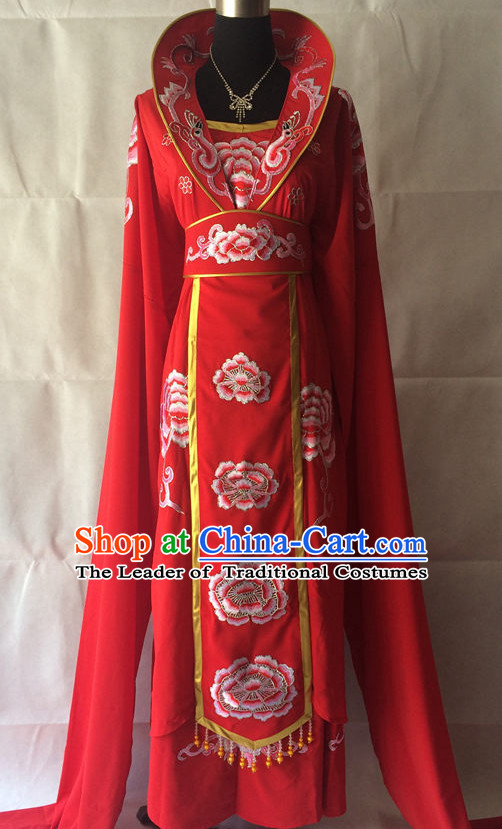 Red Long Sleeves China Beijing Opera Women Princess Costume Embroidered Robe Stage Costumes Complete Set