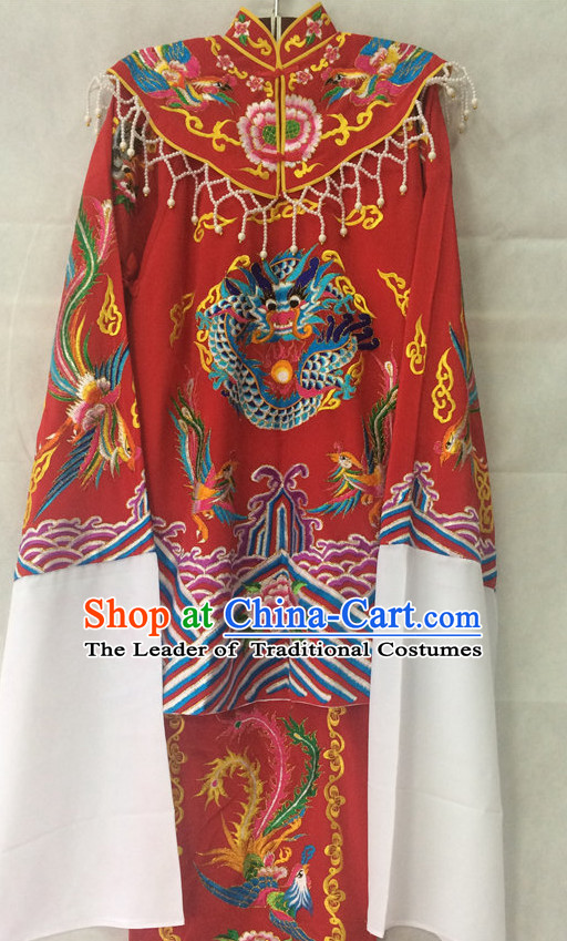 China Beijing Opera Wedding Phoenix Dresses Embroidered Robe Stage Costumes Complete Set