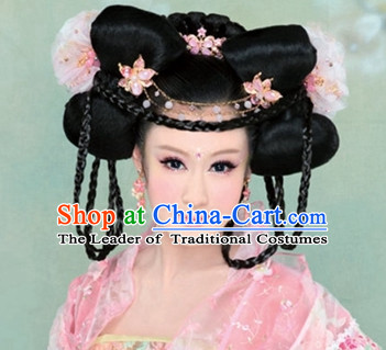 Chinese Ancient Empress Black Wigs Hair Accessories Headpiece Headdress