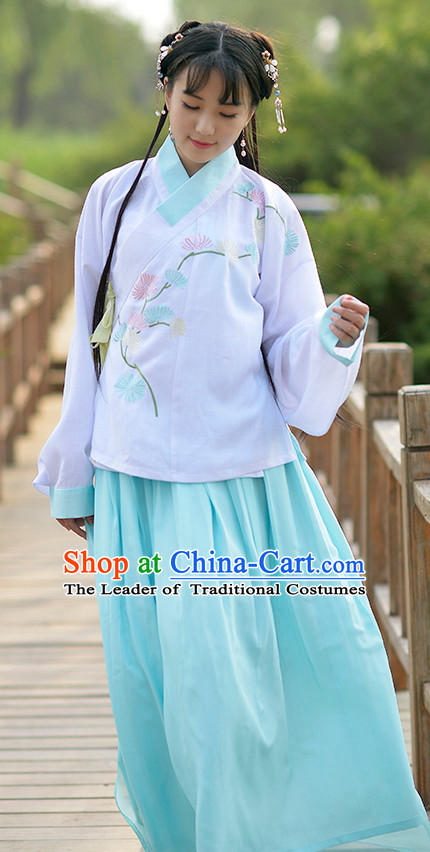 Ancient Chinese Ming Dynasty Women Han Costume Dress Hanfu Suit