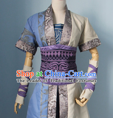 Chinese Men Warrior Hanbok Kimono Stage Opera Costume Dresses Costume Ancient Cosplay Complete Set