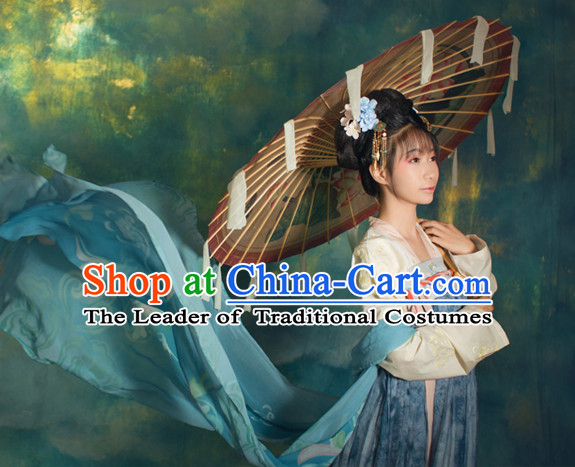 Chinese Traditional Tang Dynasty Royal Stage Hanfu Hanbok Kimono Feitian Costume Dresses Costume Ancient Fairy Garment and Headpieces Complete Set
